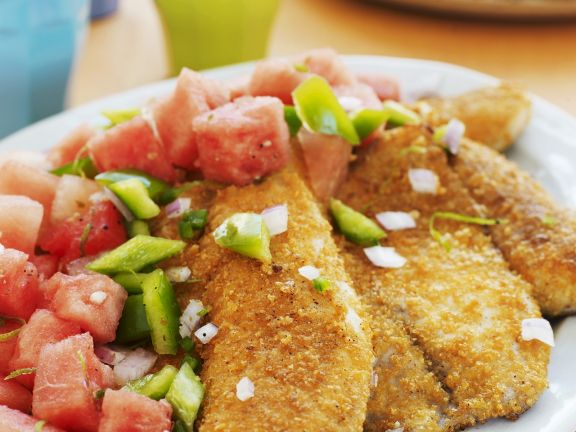Fish with Cornflake Crust and Vegetable Salad