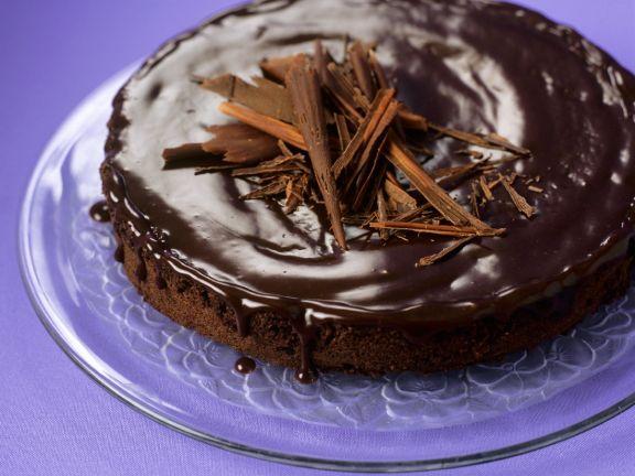 Cornmeal Gateau with Chocolate Glaze