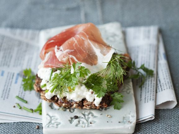 Cottage Cheese, Prosciutto and Herb Tartines