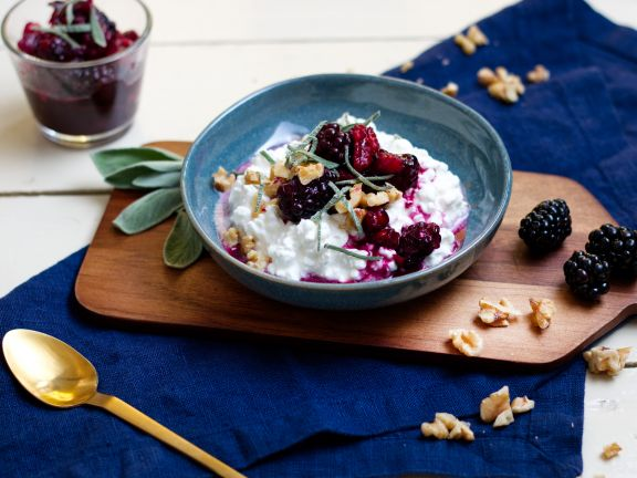 Cottage Cheese with Walnut and Blackberry Compote