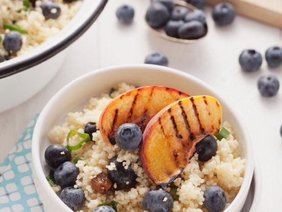Couscous Salad, Blueberries and Grilled Peaches