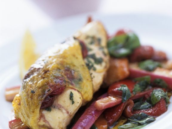 Cranberry Chicken with Caramelized Red Peppers and Rhubarb