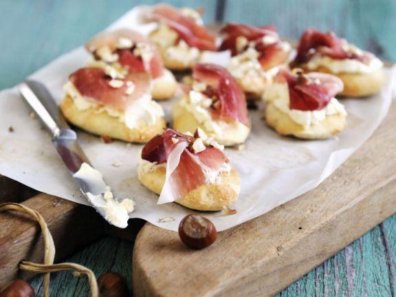 Cream Cheese and Smoked Italian Ham Canapés