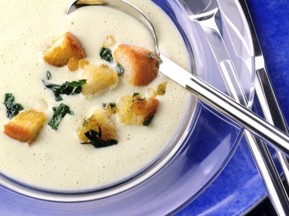 Cream of Celery Root Soup with Garlic Croutons