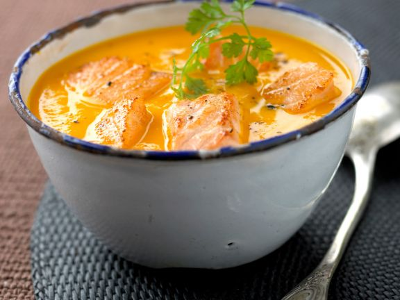 Creamy Carrot Soup with Salmon