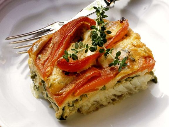 Creamy Fish Casserole with Roasted Bell Peppers