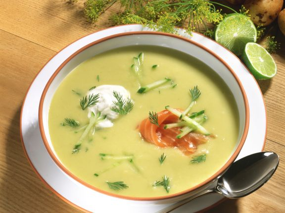 Creamy Potato Soup with Smoked Salmon and Dill
