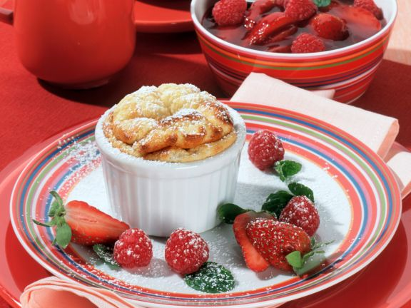 Creamy Soufflé with Strawberry and Raspberry Compote