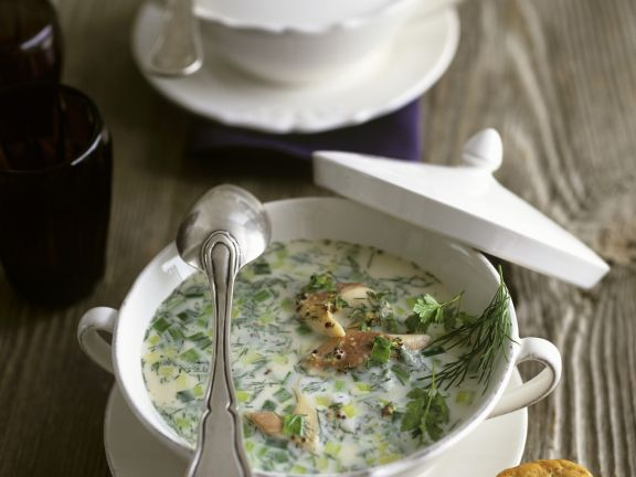 Creamy Soup with Smoked Trout, Leek, Dill and Chervil