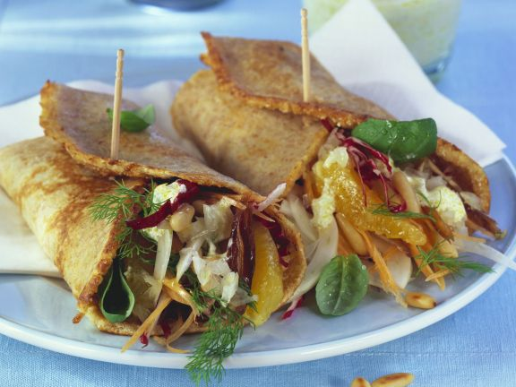 Crepes Filled with Cream Cheese, Oranges, Radicchio and Fennel