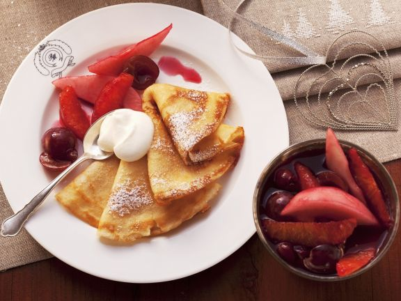Crêpes with Fruit and Rum Sauce