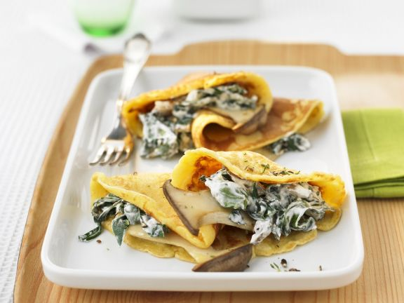 Crepes with Oyster Mushrooms