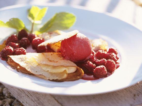 Crepes with Raspberry Sorbet