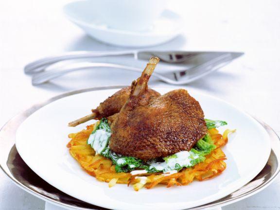 Crispy Duck with Savoy Cabbage and Potato Pancake