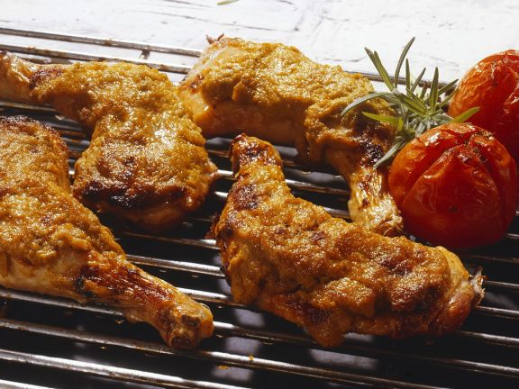 Crispy Grilled Chicken Legs with Olive Paste