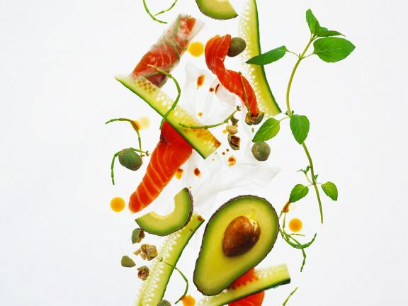Cucumber and Avocado Salad with Salmon