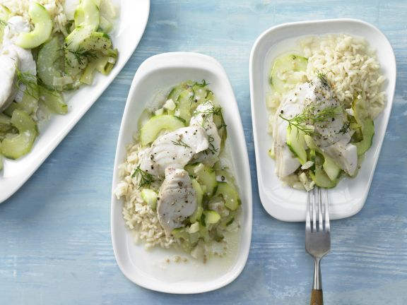 Cucumber and White Fish Ragout