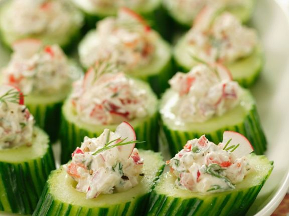 Cucumbers Stuffed with Radishes and Quark
