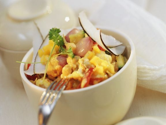 Curried Vegetables with Coconut, Almonds and Mango