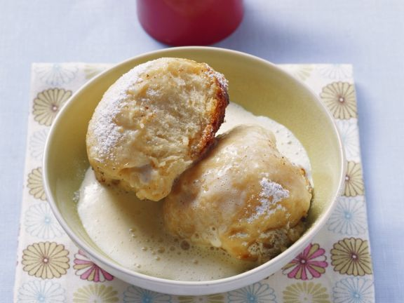 German Sweet Dumplings with Vanilla Custard