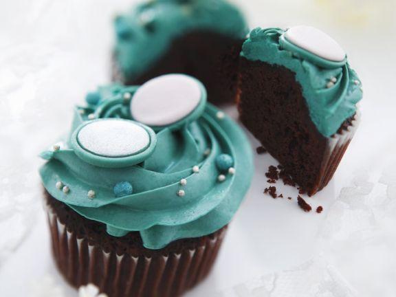 Dark Chocolate Muffins with Blue Buttercream