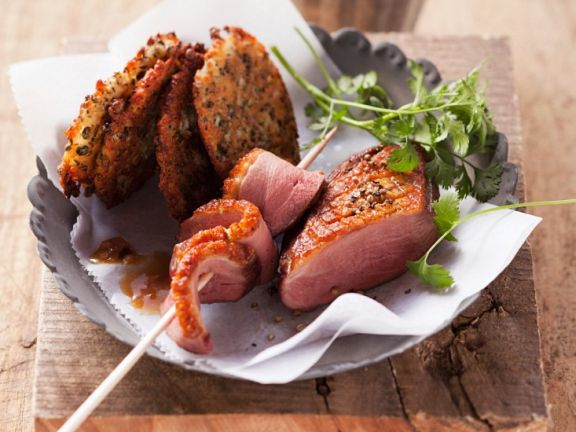 Duck Breast with Lentil Fritters