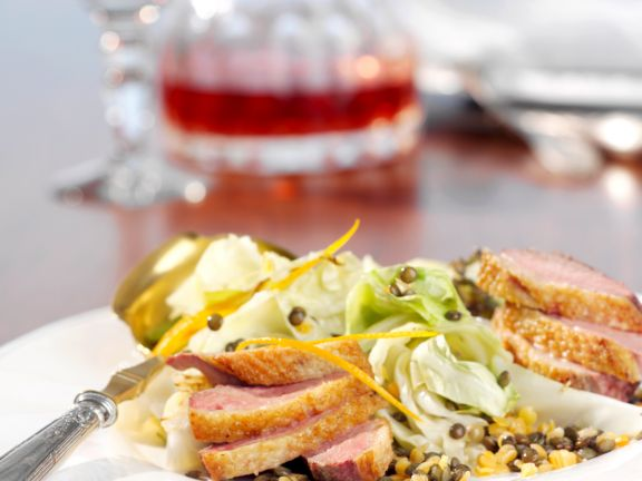 Duck Breast with Lentils and Cabbage