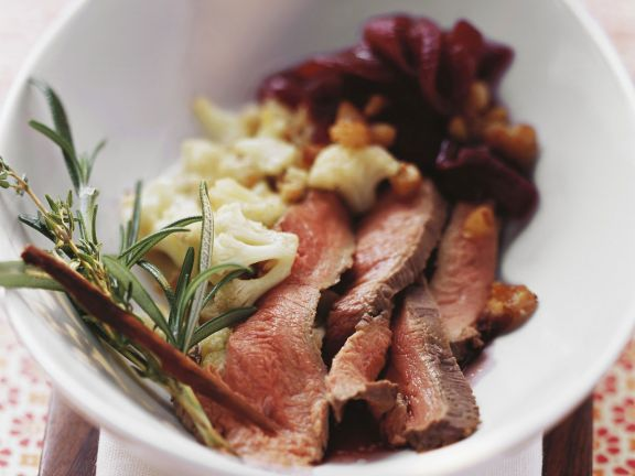 Duck Breast with Red Wine Sauce and Cauliflower