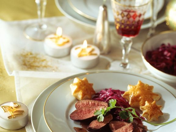 Duck Breast with Red Wine Sauce, Cabbage and Pastry Stars