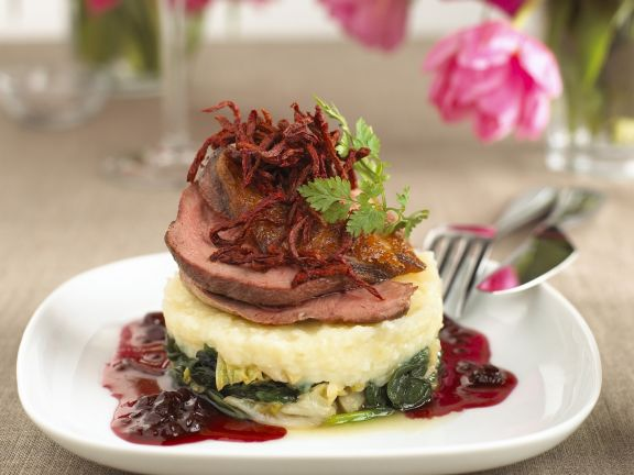 Duck with Vegetables, Mashed Potatoes and Cranberries