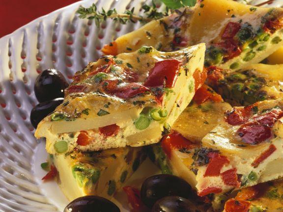 Egg and Vegetable Tart Slices