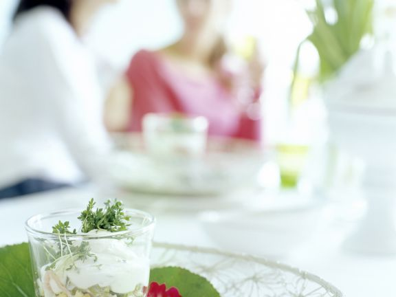 Egg Salad in a Glass with Cress and Boiled Ham