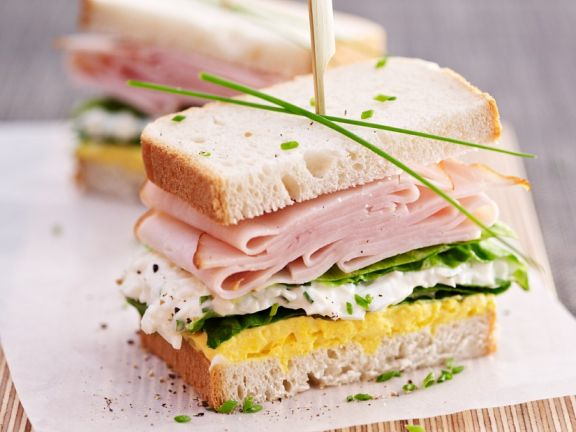 Egg Salad Sandwich with Cottage Cheese and Turkey Ham