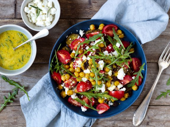 Eggplant and Tomato Salad with Chickpeas and Feta
