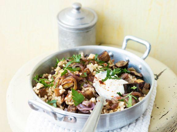Eggplant Bulgur with Yogurt