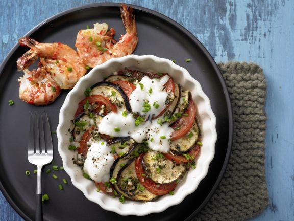 Eggplant Gratin with Marinated Shrimp