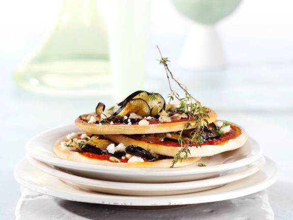 Eggplant Pizzas with Goat Cheese