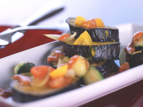 Eggplant Slices with Chopped Vegetables