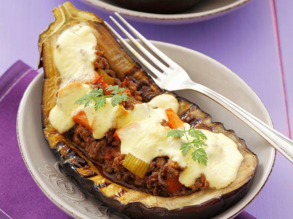 Eggplant Stuffed with Ground Meat and Yogurt