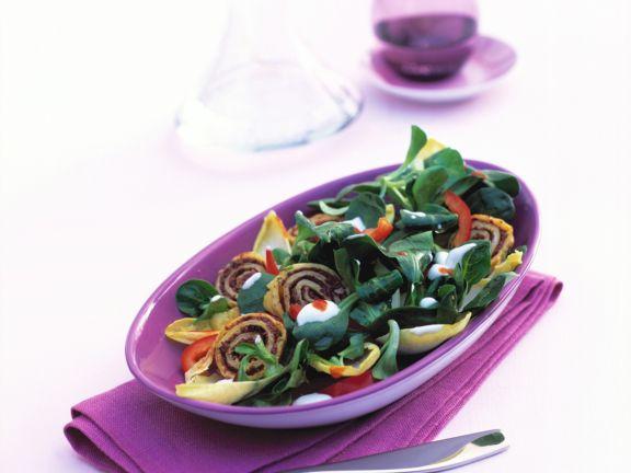 Endive Salad with Tapenade Pancakes and Yogurt Sauce