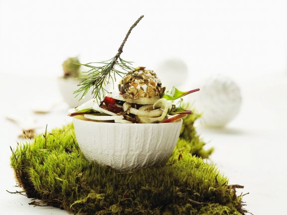 Fennel Salad with Pear, Dried Cranberries and Cream Cheese Balls