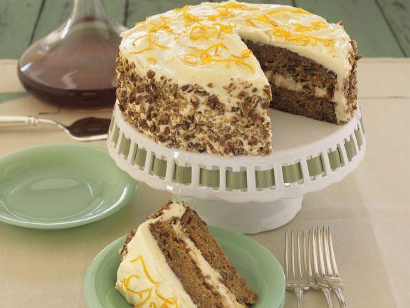 Festive Orange Cream and Walnut Cake