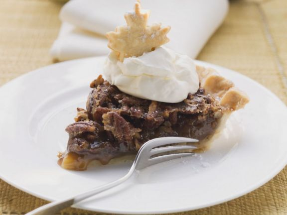 Festive Pecan Pie with Cream Topping