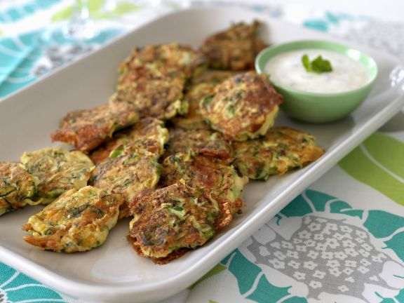 Feta Courgette Patties with Yoghurt Dip