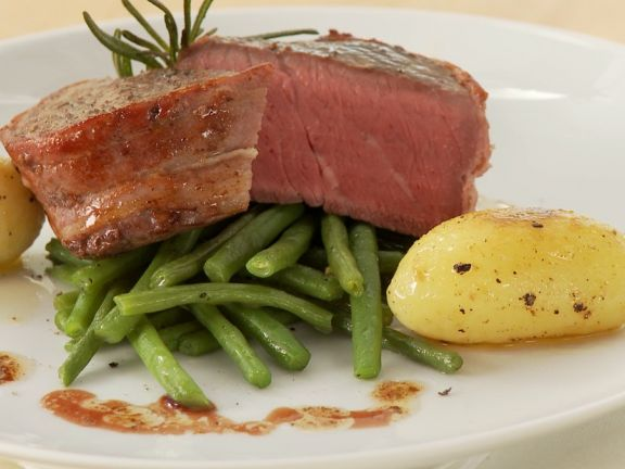 Filet Mignon with Potatoes and Beans
