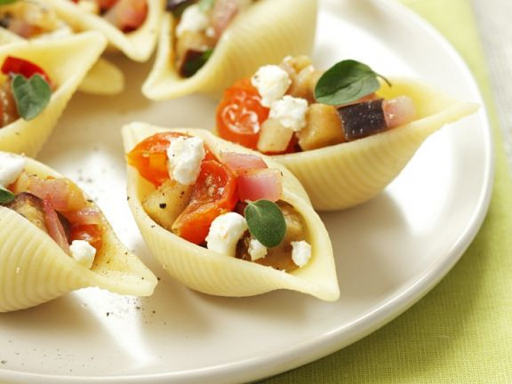 Filled Pasta Shells  with Eggplant and Feta