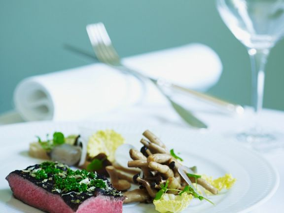 Fillet Steaks with Black Truffles and Mushroom Sauce