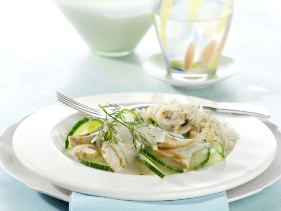 Finely Chopped Chicken with Cucumber and Mushrooms