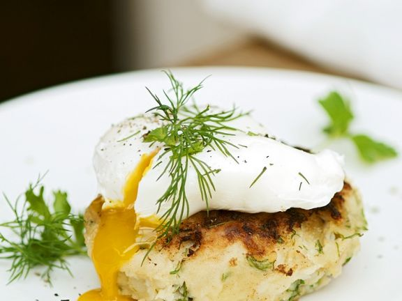 Fish and Potato Rissole with Poached Eggs