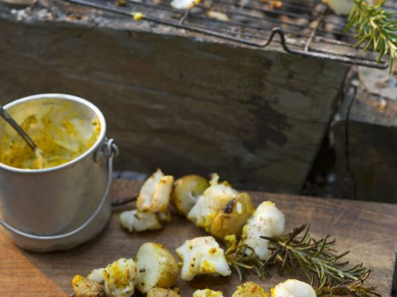 Fish and Potatoes on Rosemary Skewers with Curry